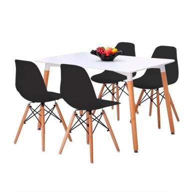 4 sillas Eames Negras + Mesa Rectangular 120x80