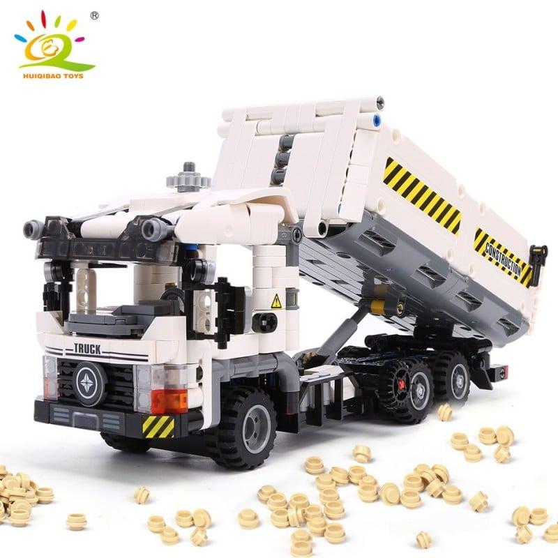Camión de basura de Ingeniería Técnica HUIQIBAO 799 Uds., bloques de construcción para vehículos, juego de ladrillos para veh...