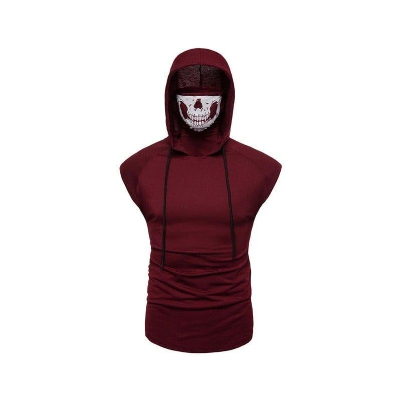 Nueva camiseta para hombre, superelástico, fitness, uniforme ninja para hombre, camiseta sin mangas con capucha, máscara de c...