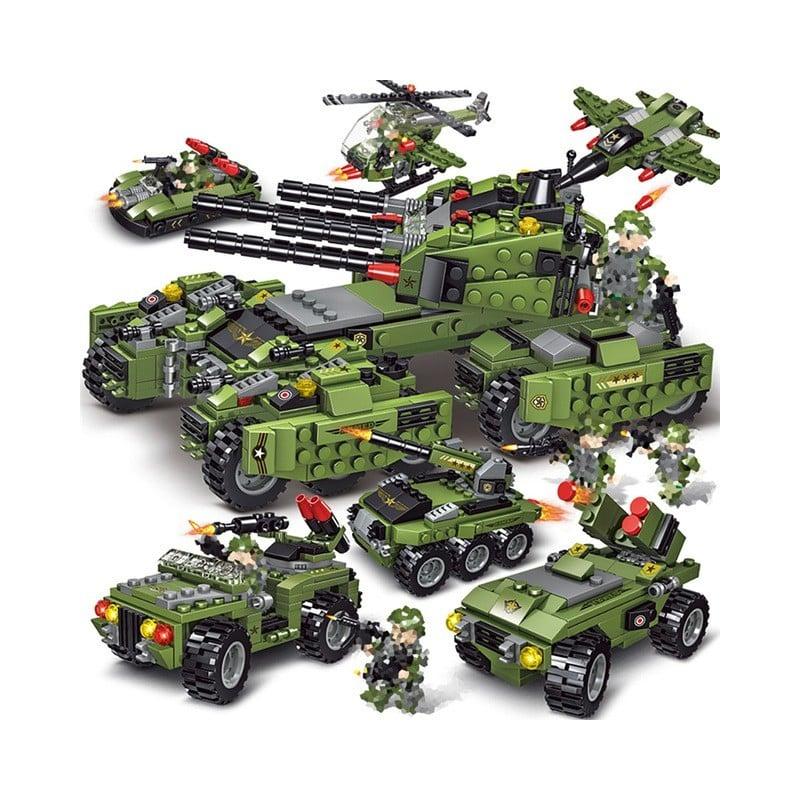 2020 710 Uds tanque de bloques de construcción vehículo avión niño juguetes figuras bloques educativos militar Compatible Leg...
