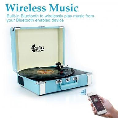 Tocadiscos Bluetooth 3 Velocidades con Maleta Celeste