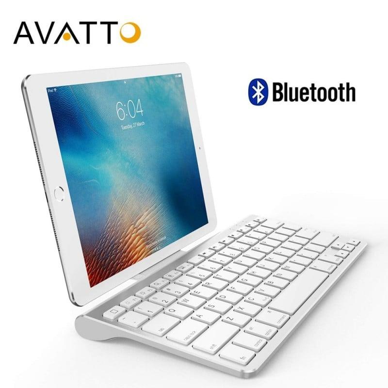 AVATTO teclado de tableta inalámbrico Bluetooth Ultra delgado con soporte, 78 teclas para tableta, ipad, iphone, escritorio, ...