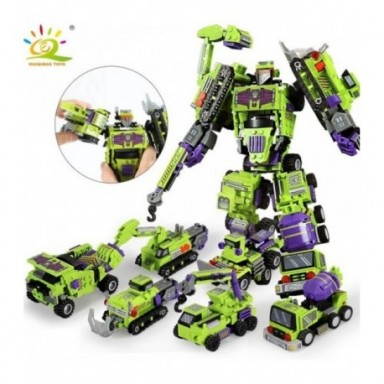 Robot de transformación 6 en 1 de 709 Uds., bloques de construcción, ingeniería urbana, excavadora, camión, juguete de construcc