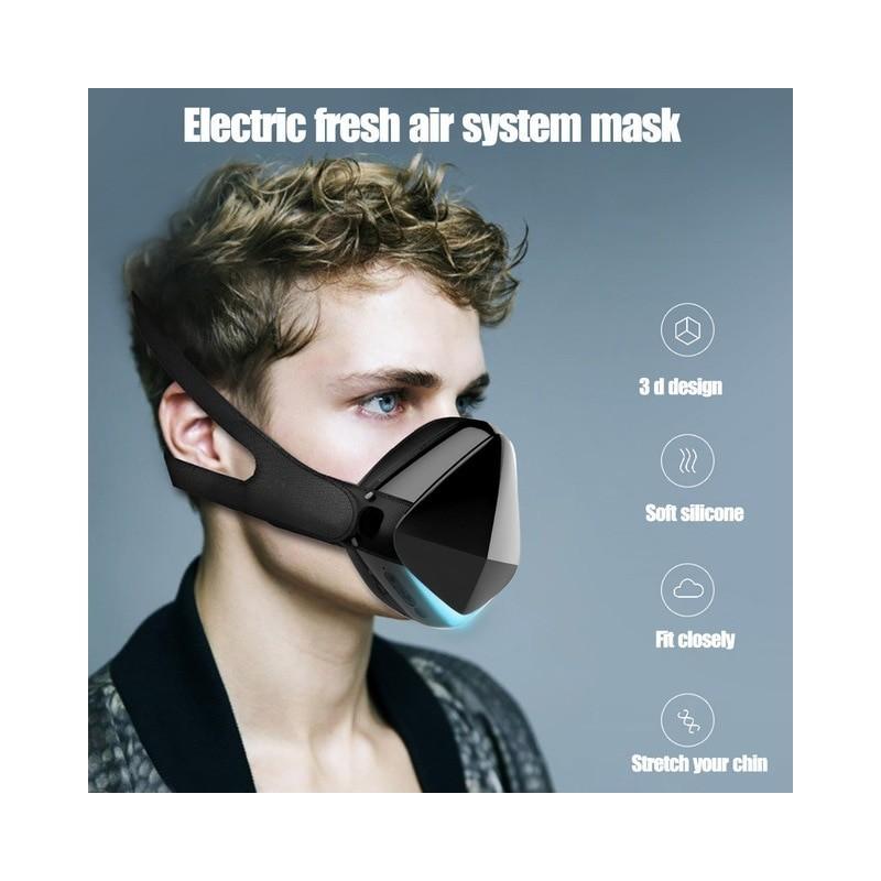 Máscara facial eléctrico inteligente, mascarilla facial purificadora de aire inteligente para adultos para correr/viajes, for...