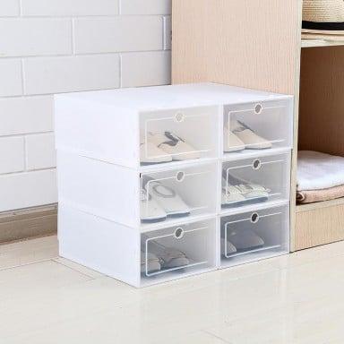 Pack 6 cajas para zapatos blancas apilables