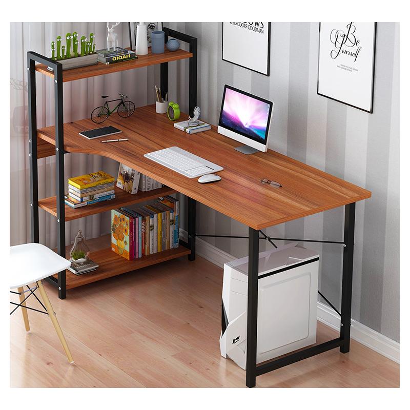 Escritorio computador con estanteria caoba Mesas
