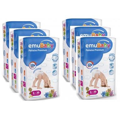 Pañales Desechables EMUBABY Premium G 38. Pack 6 bolsas