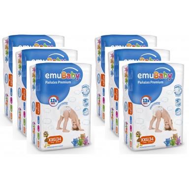 Pañales Desechables EMUBABY Premium XXG 34 un. Pack 6 unidades