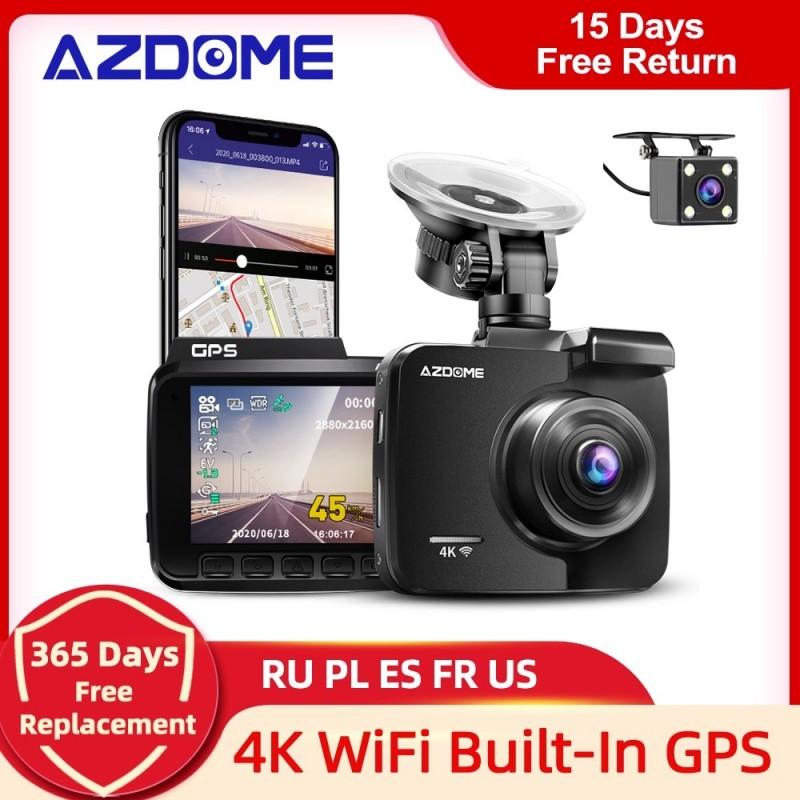 Cámara de salpicadero AZDOME GS63H 4K GPS integrado velocidad coordenadas WiFi DVR lente Dual cámara de salpicadero era visió...