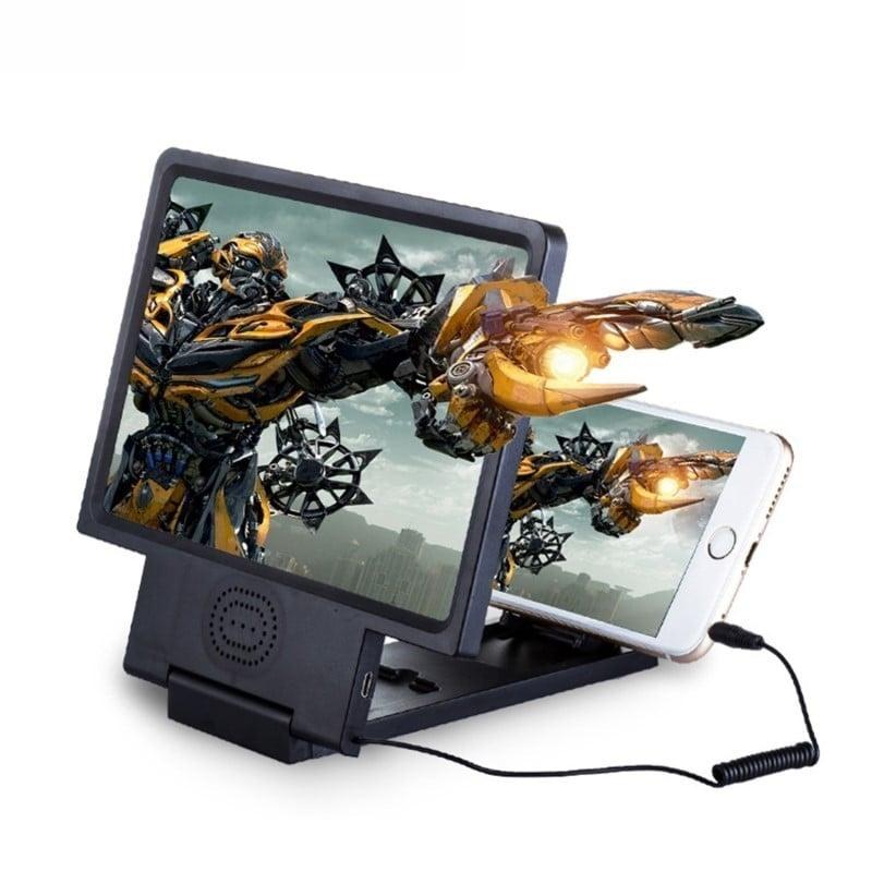 3X 4X de pantalla del teléfono móvil lupa con altavoz HD Video lupa de vidrio de 8,5 pulgadas soporte plegable lupa de vidrio...