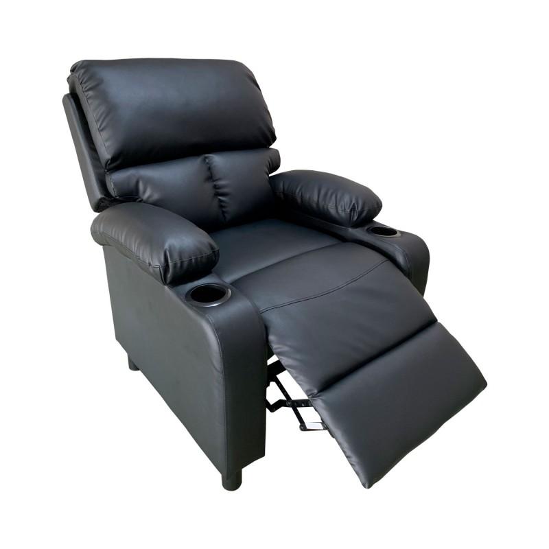 Bergere reclinable Ibiza leather Negro Celulares