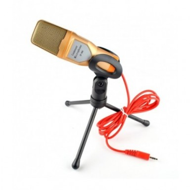 Micrófono de condensador de 3,5mm, micrófono estéreo para el hogar, trípode de escritorio para PC, YouTube, vídeo, Skype, chat,