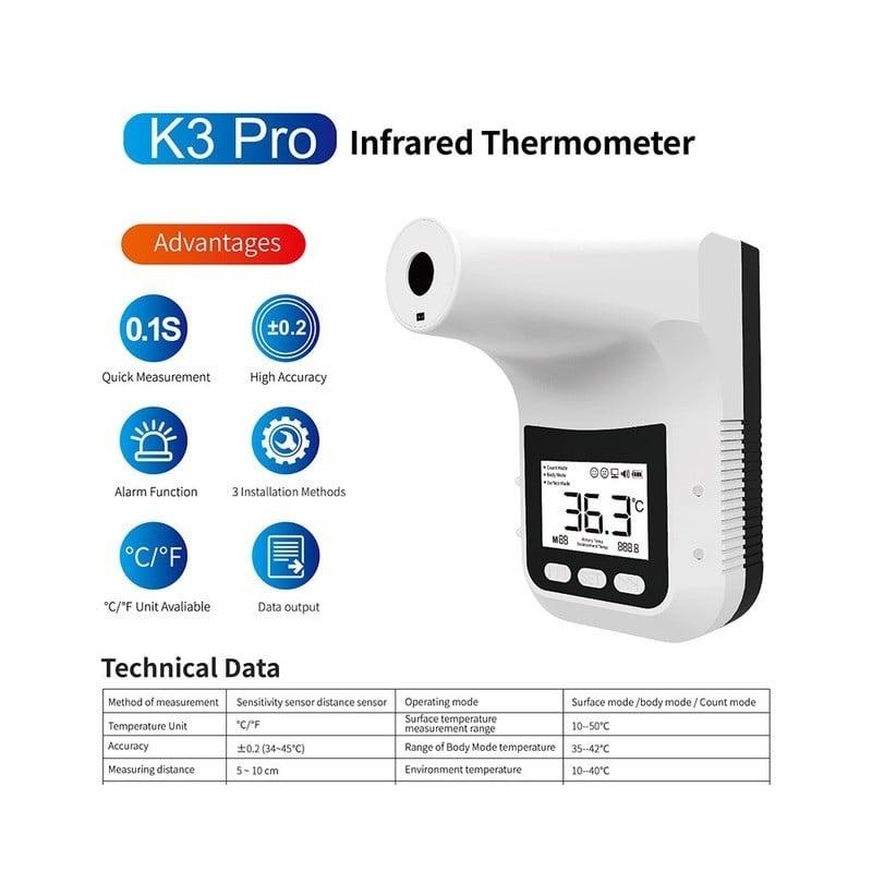 Termómetro Digital K3 PRO con pantalla LCD, termómetro infrarrojo inteligente sin contacto para la frente, el cuerpo y la Oficin