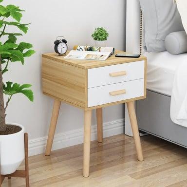 Velador Doble Eames Oak&white