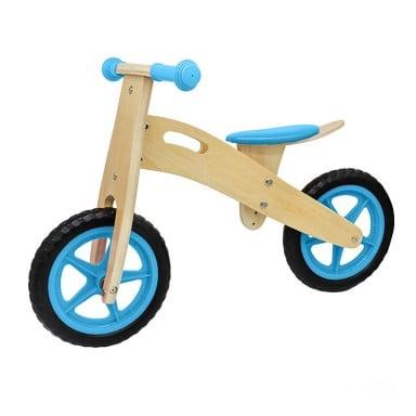 Bicicleta aprendizaje infantil madera celeste