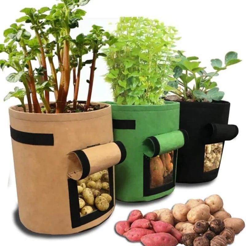 Bolsas de fieltro de 3 tamaños para cultivo de plantas, maceta de jardín de tela no tejida, bolsas de cultivo de vegetales pa...
