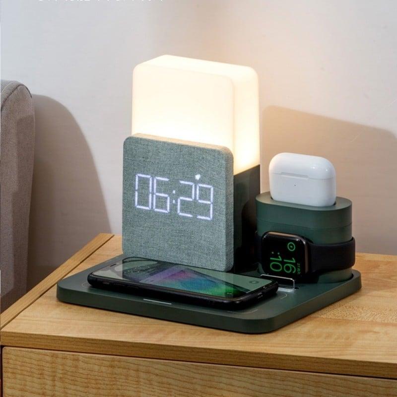 Cargador inalámbrico multifuncional de carga rápida, alarma de soporte de teléfono móvil de escritorio, reloj con luz de noch...