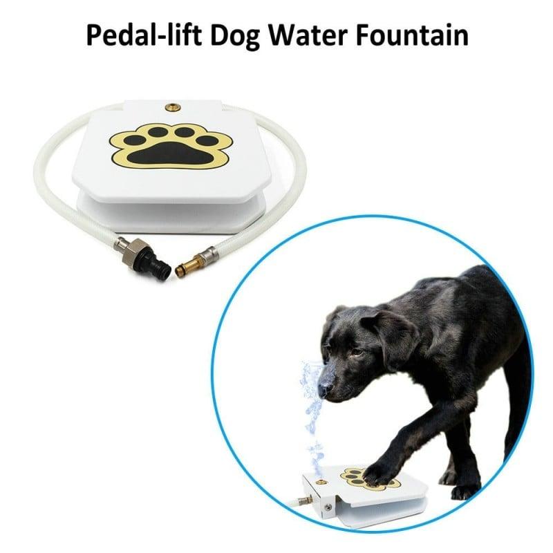 Fuente de agua automática para perro, alimentador de acero inoxidable con Pedal de elevación, plato de paso para mascotas, ju...
