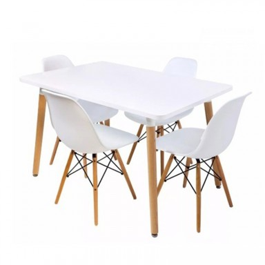 4 sillas Eames + Mesa rectangular 120x80