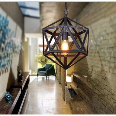 Lampara Colgante Hexagonal Vintage