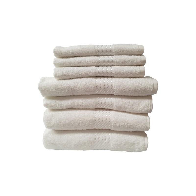 Set 7 toallas algodón marca Dohler blancas Toallas