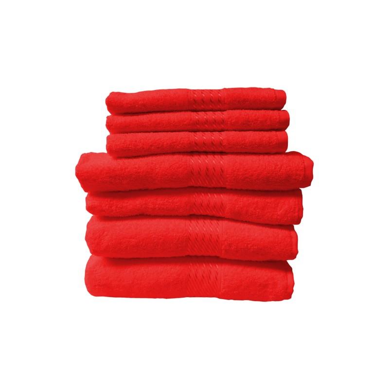 Set 7 toallas algodón marca Dohler roja Toallas
