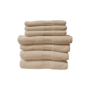 Set 7 toallas algodón marca Dohler beige