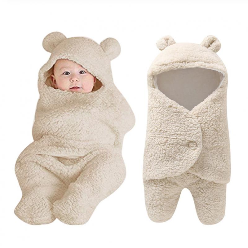 Bebé recién nacido bonito algodón recibir blanco manta de dormir niño niña envolver Swaddle Mamá y Bebés