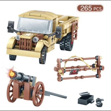 Camiones del Ejército Avión de bloques de construcción de aire conjunto militar WW2 coche vehículo arma de soldados DIY ladrillo
