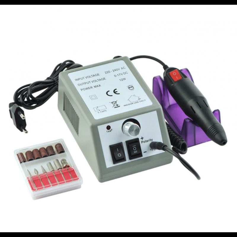 1 Set 2 vuelta de clavo eléctrico máquina de perforación manicura 20000RPM máquina fuerte gel para pedicura cutícula eliminar...