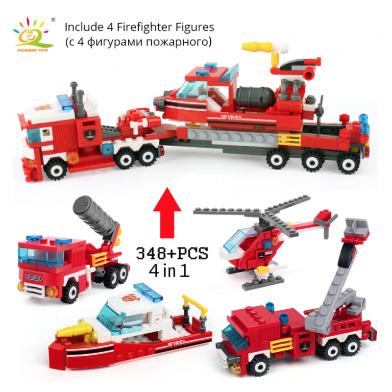 Kit 4 en 1 Juego contra Incendios. Helicoptero, camion, lancha y Carro Bomba y Juguetes I