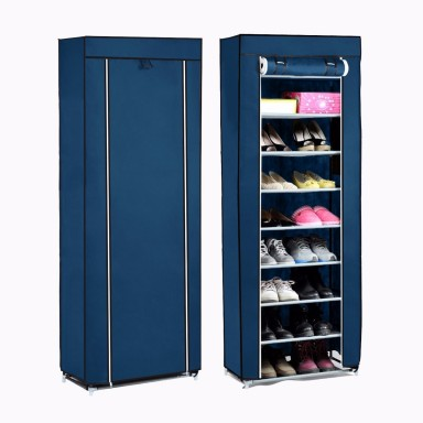 Clóset de tela móvil para zapatos azul