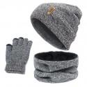 Unisex Beanies anillo con diseño de sombrero bufanda guantes Set invierno tejido grueso cálido Cap mujeres hombres sólido Ret...