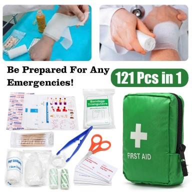 121 Uds. Kit de bolsa de primeros auxilios verde para acampada y senderismo, equipo de emergencia médica, paquete de tratamiento