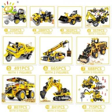HUIQIBAO ingeniería Bulldozer Crane Technic volquete camión de bloques de construcción ciudad vehículo de construcción coche de
