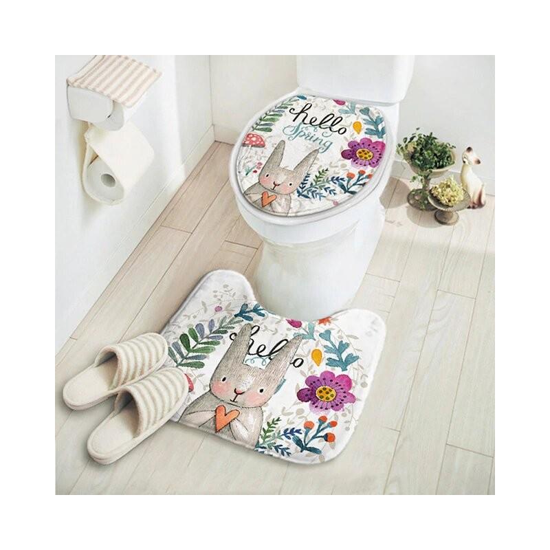 2 unids/set nuevo corte de conejo de dibujos animados patrón de animales baño Set alfombra absorbente antideslizante Pedestal...